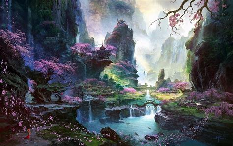 fantasy art asian architecture cherry blossom wallpapers