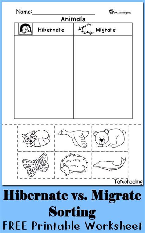 hibernation vs migration animal sorting worksheet