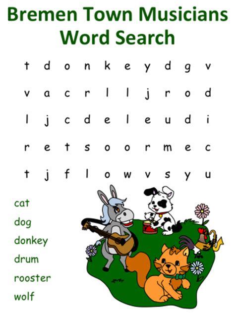 bremen town musicians word search puzzles