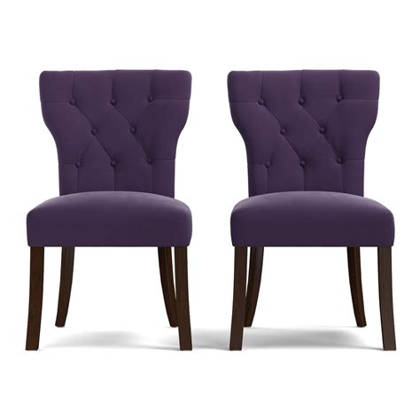 shop gracewood hollow mervyn purple velvet upholstered