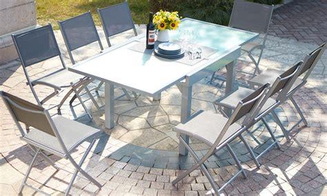 Table Jardin Alu Verre by Salon De Jardin Lycine Alu Verre Groupon