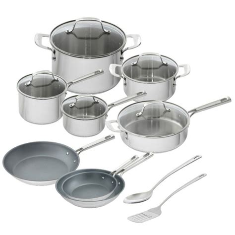 emeril lagasse  piece stainless steel cookware set detail  cookware set stainless steel