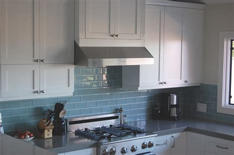blue glass kitchen backsplash best backsplash for dark cabinets sky blue glass subway tile kitchen backsplash with white top