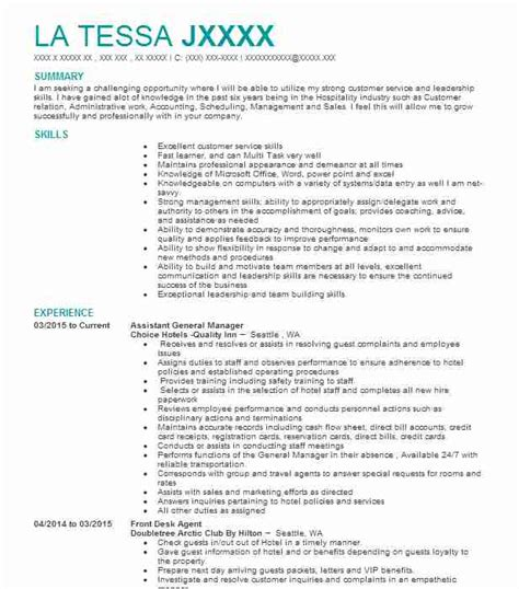 General Manager Resume by Assistant General Manager Resume Sle Manager Resumes