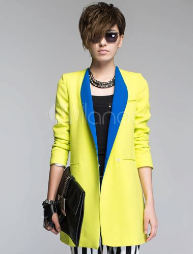 Stylish Polyester Twotone Oversized Notch Collar Long