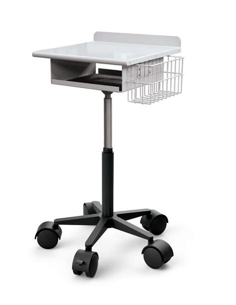 Ceiling Monitor Mount by Laptop Cart With Wire Basket Afcindustries