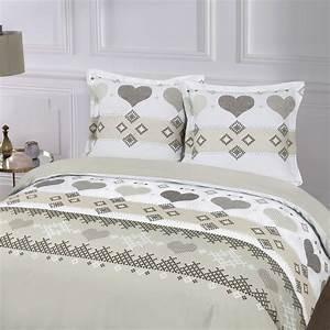 Parure De Lit Marbre : parure de lit 2 personnes style romantique linge de lit caf blanc kiabi 35 00 ~ Melissatoandfro.com Idées de Décoration