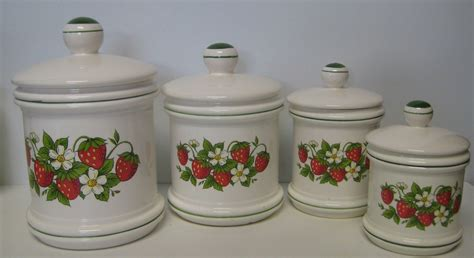 country kitchen canisters sears strawberry country kitchen canister set 4 total made