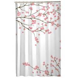 floral pink cherry blossom asian sakura fabric shower curtain