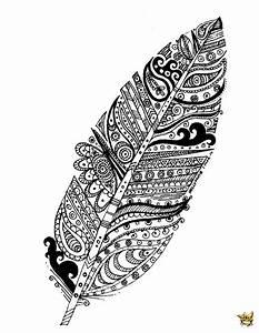 Dessin De Plume Facile : coloriage plume motifs pour adultes ~ Melissatoandfro.com Idées de Décoration