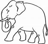 Elephant Coloring Pages Asian Printable Simple Cartoon Baby Strutting Cute Getcoloringpages sketch template