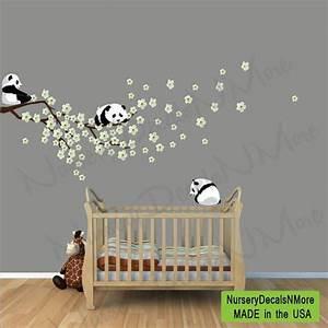 stickers de panda darbre de la cerise rose fleurs de With chambre bébé design avec fleur de bach 47