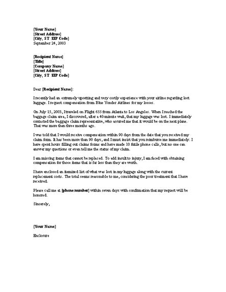complaint letter requesting reimbursement  lost luggage