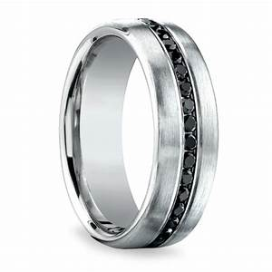 channel black diamond men39s wedding ring in white gold With mens wedding rings black diamonds