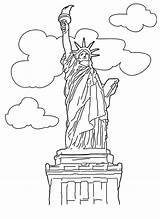 Coloring Statue Liberty Sheet Popular sketch template