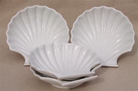 set   seashell scallop shell shaped baking dishes oven microwave safe ceramic