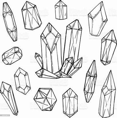 Crystal Crystals Geometric Vector Drawn Hand Illustration
