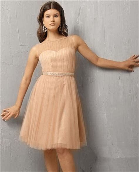 A Line Illusion Neckline Short Nude Tulle Cocktail Party