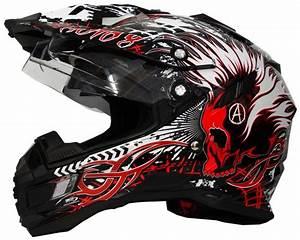 Motocross Helm Mit Visier : motorradhelm mx enduro quad helm schwarz rot mit visier ~ Jslefanu.com Haus und Dekorationen