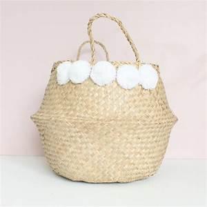 Panier A Pompon : grand panier boule naturel pompons blancs le joli shop ~ Teatrodelosmanantiales.com Idées de Décoration