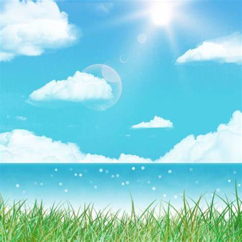 White Clouds Blue Sky Seaside Background Material Grass