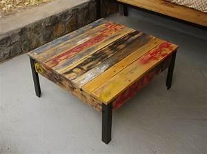Pied De Table Basse Metal : table basse en bois de r cup palettes et pied en m tal plateau de table couleurs wood palet ~ Teatrodelosmanantiales.com Idées de Décoration