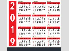 Yearly Printable Calendar 2019 With USA [America] Holidays