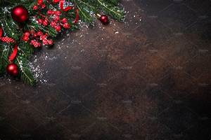 Christmas background on dark table. ~ Holiday Photos ...