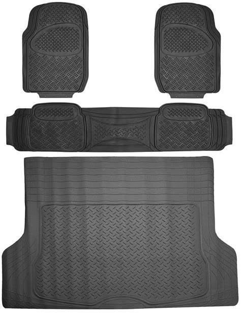 floor mats for suv 4pc full all weather heavy duty rubber black suv floor mat trunk cargo liner 3a ebay