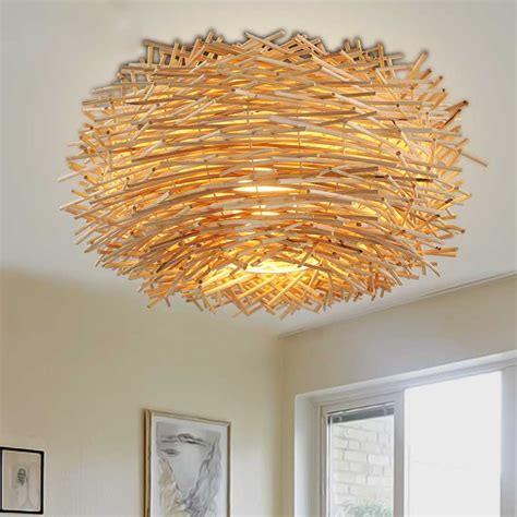 vintage art creative country rattan bird nest led ceiling