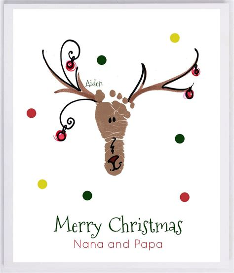 Reindeer Footprint Wall Art Your Childs Actual Prints