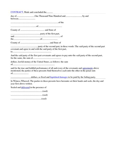 Free Download Blank Contract Form Sample For General