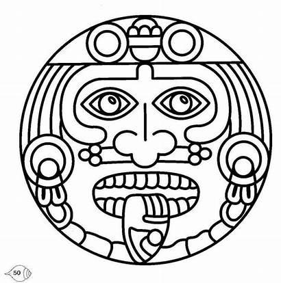 Aztec Mayan Coloring Pages Symbols Masks