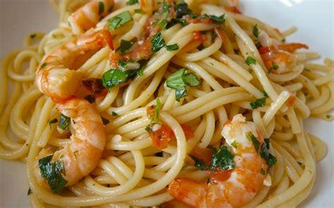 recette spaghettis aux crevettes à l 39 ail pas chère et