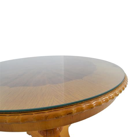 86% OFF  Antique Round Wood Dining Table with Glass Top