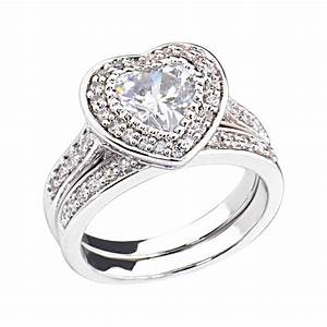 2 ct heart cubic zirconia rhodium ep bridal engagement for Rhodium wedding ring sets