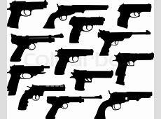 Guns silhouettes collection Stock Vector Colourbox