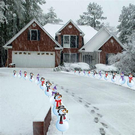 pathway christmas yard candles snowman pathway lights wikii