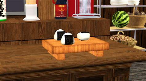sims 3 cuisine ts3 edible food onigiri set noir and sims