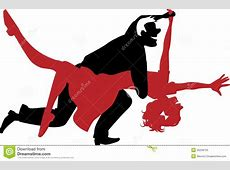 Silhouette Of A Couple Dancing Swing Or Rock N Roll Stock