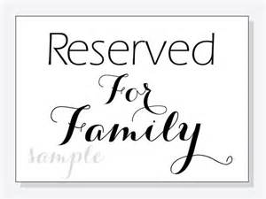 wedding programs template diy reserved for family wedding table sign 5x7 and 8x10