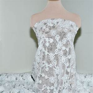Stretch mesh lace ribbon sequin fabric white pageant for Stretch lace wedding dress
