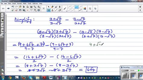 simplifying fractions in surd form and checking the answer