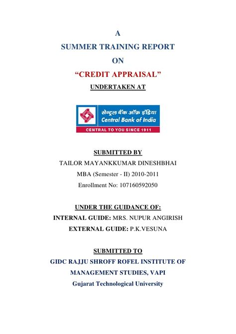Central Bank Form 1 by Credit Appraisal At Central Bank Of India