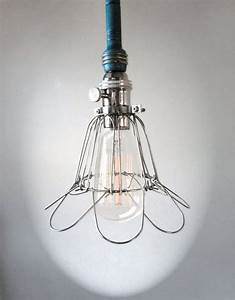 Industrial teal blue cage light edison bulb pendant
