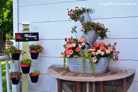 topsy turvy planter pot holder plant stand update cottage at the crossroads