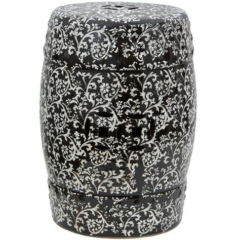 buy  black white floral porcelain garden stool