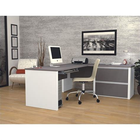 bestar connexion l shaped desk with 1 oversized pedestal