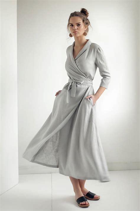 linen wrap dresslinen dress shawl collar linen dress
