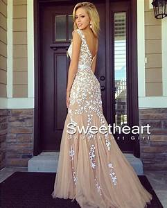 Sweetheart Girl   A-line backless Lace Prom Dresses, Lace ...